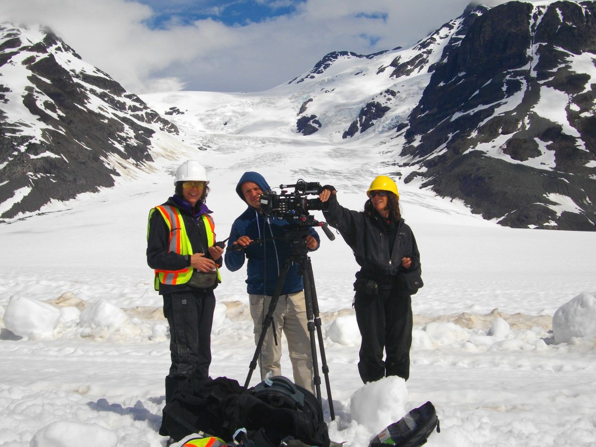 Director Nettie Wild, cinematographer Van Royko, camera assistant Kim McNaughton on location in northwest BC for KONELĪNE: our land beautiful.